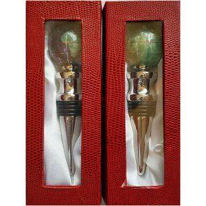Two Gemstone Bottle Stoppers NIB Peridot Amethyst